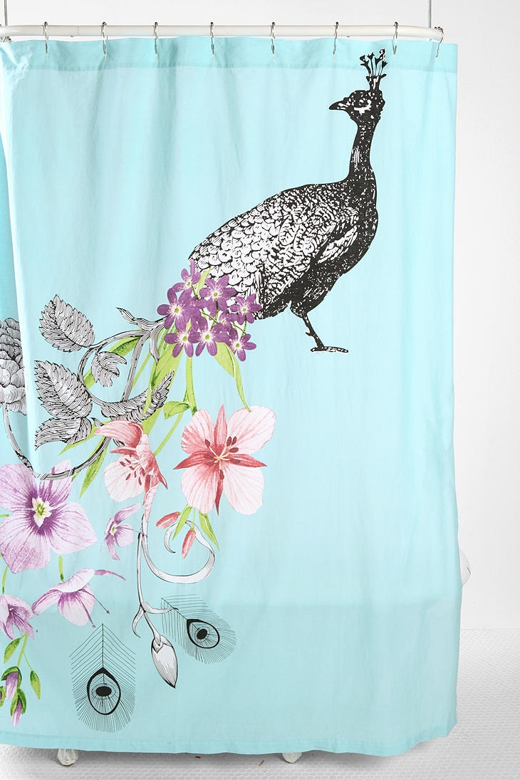 Peacock shower curtain hooks - Overview Romantic Cotton Shower Curtain Topped With A Bright Pastel Peacock Print Reinforced Grommets At The Top Shower Curtain Liner Sold