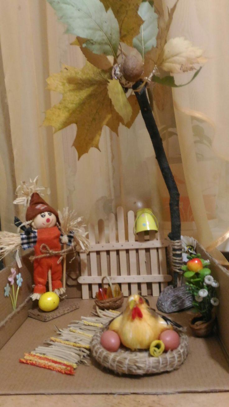 Поделка осенняя  в сад  ,всей семьей готовили)))осень,деревня,поделка в сад из природных материалов и декоративных элементов.
