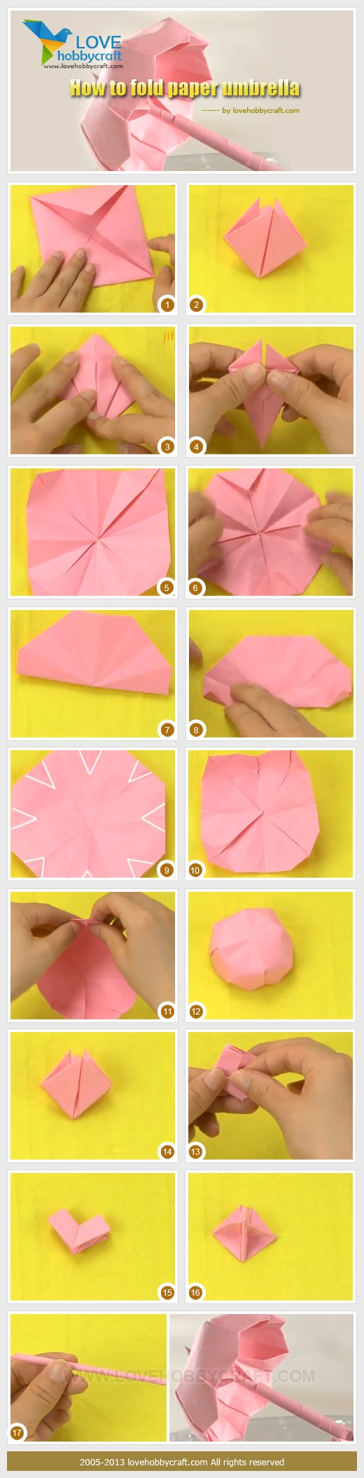 step guide for making paper umbrella