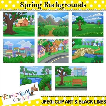 This set contains 8 Spring themed digital backgrounds/scenery. Each image is in color as well as black and white. JPEG format and 300dpi. Great for scrapbooking, educational resources, photography, cards, printables - whatever you like!