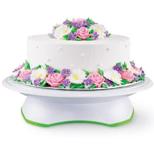 A rotating cake stand that makes frosting a cake 10 times easier, with a set of cake circles to go with it. | 17 Gifts For Anyone Who Wishes They Baked Cakes For A Living