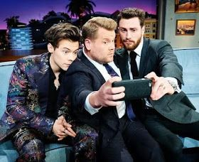 """Harry Styles appeared on """"Late, Late Show"""" with James Corden.   Actor Aaron Taylor-Johnson was also invited and the three had a really in..."""