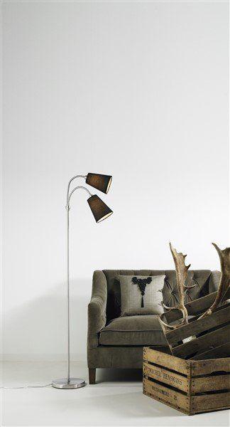 Staande lamp zwart stof 2xE14 1550mm hoog