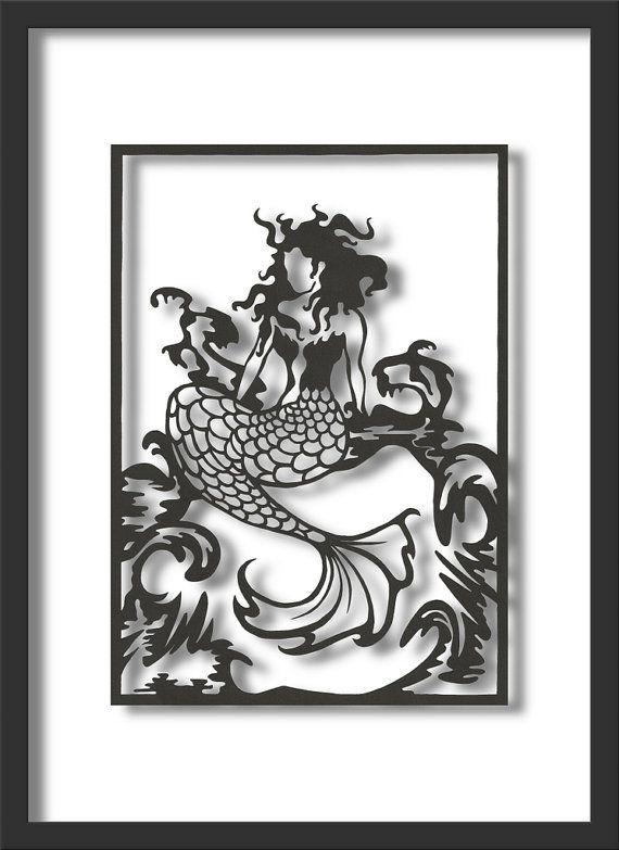 Papercut Art: Wind-swept Mermaid, A4 size. via Etsy