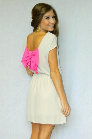 Bow Beauty Dress (Beige) | Girly Girl Boutique