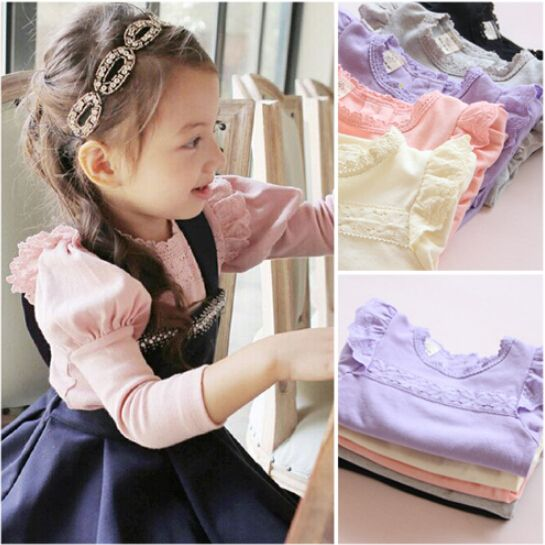 Girls Autumn T-Shirts Children's Shirt Girls Cotton Printed TShirt Girl Puff Sleeve Pattern Shirt Kids T-Shirts Clothes for Girl