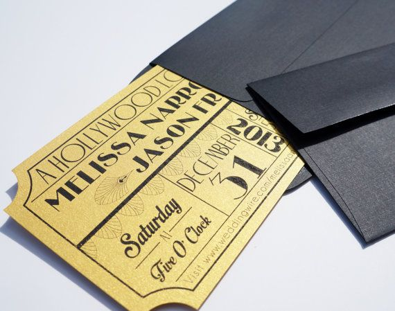 Movie Ticket Wedding Invitation by brighteyedbirdie on Etsy