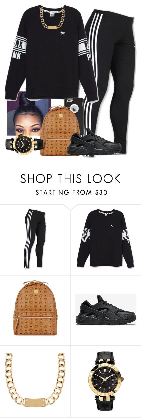 """""""Untitled #192"""" by khanyajane on Polyvore featuring adidas, Victoria's Secret, OtterBox, MCM, NIKE, House of Harlow 1960 and Versace"""