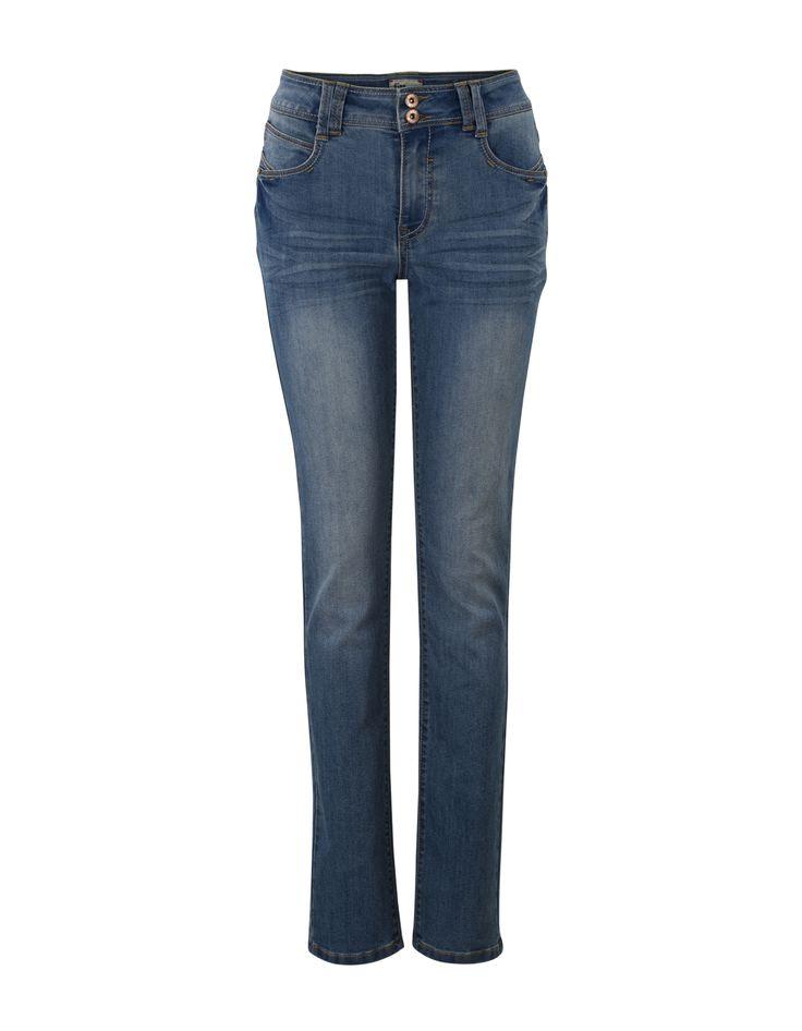 Blauwe denim broek 'Samba' met slanke broekspijpen, een knoopsluiting en een tailleband met riemlussen. De jeans is voorzien van insteekzakken op de voor- en achterkant en heeft een vintage wassing. Normale taille. Binnenbeenlengte in maat 38/M: 76 cm (30 inch).  Dit artikel behoort tot de Etam Regulier collectie.