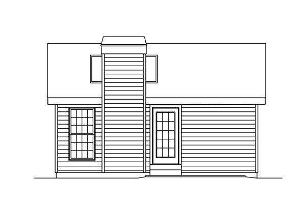Rear Elevation Of Cabin Colonial Cottage Country Ranch