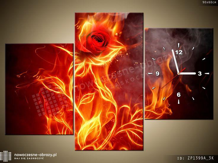 płomienna róża - fotozegar na płótnie