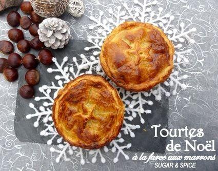 Tourtes de Noël farcies aux marrons (farce avec viande de boeuf, pommes, champignons,marrons, chair à saucisses...)
