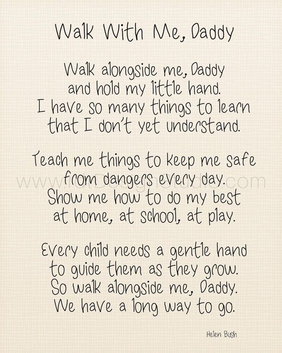 Walk With Me Daddy Fathers Day Poem Fathers Day by rdtDesignStudio...