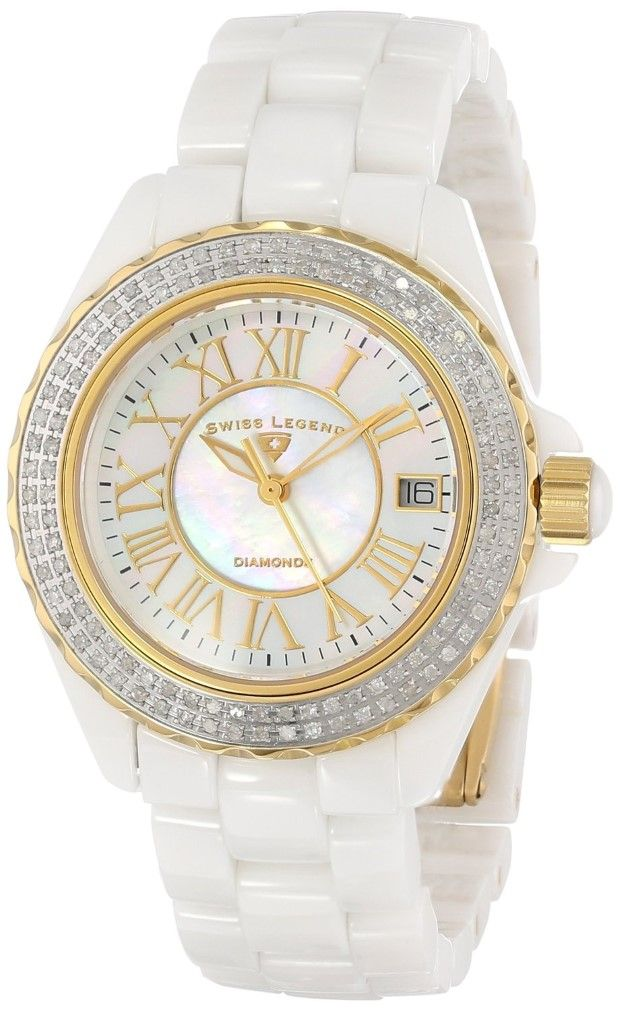 "Women's watches:  white women watches Swiss Legend Women's 20051-WWWGR ""Karamica"" Diamond-Accented Watch"
