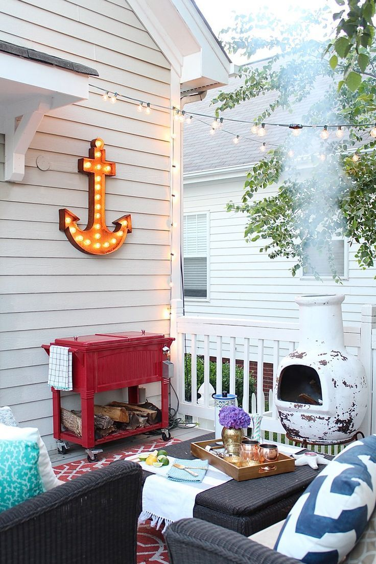 2016 Summer #Home Tours: Outdoor Spaces - Deck Makeover - Marquee anchor light - chiminea fire pit - outdoor living - Simple Stylings - www.simplestyling...