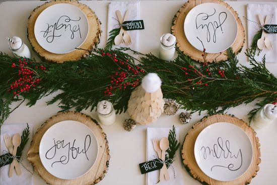 So adorable!! Sweet Little Peanut Christmas Table featuring Aedriel Originals Scripted Plates.