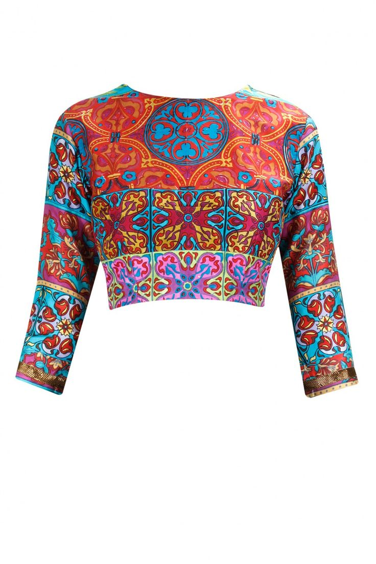 Multicolour block print crop top. BY NIKI MAHAJAN
