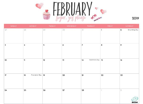 February 2019 Calendar Printable With Holidays February February2019 February2019cal Printable Calendar Template Calendar Printables Free Printable Calendar