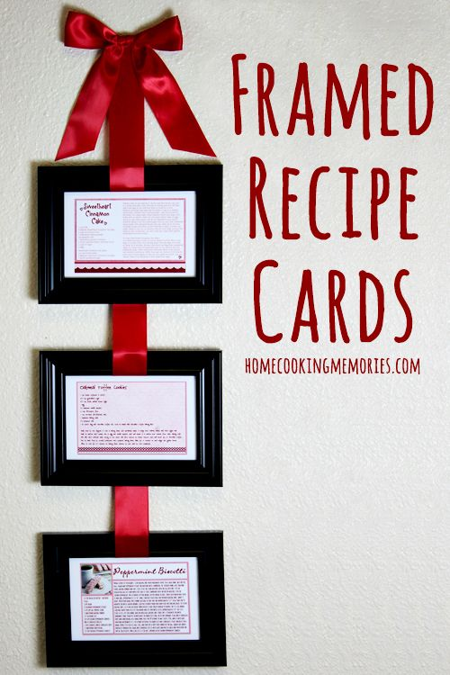 Framed Recipe Cards (hanging from ribbon) -- sweet idea for favorite recipes.