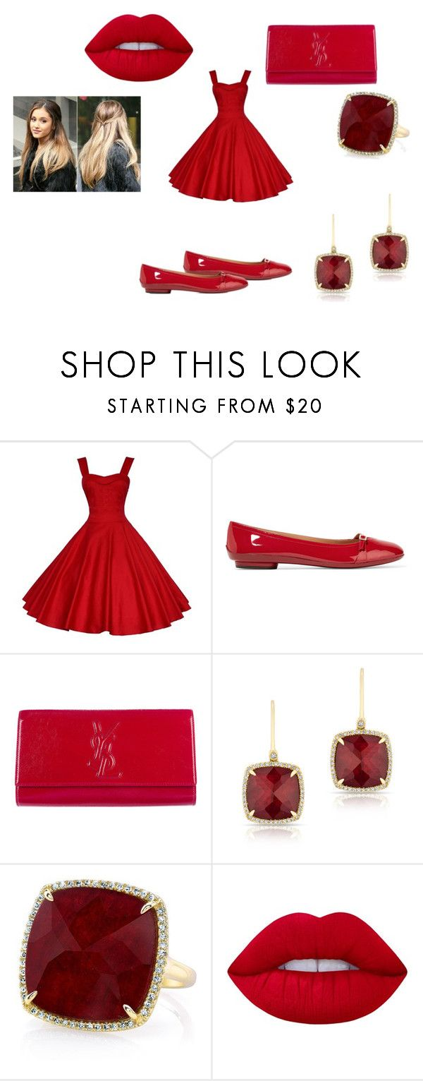 """Classic Red"" by outfit-creator ❤ liked on Polyvore featuring Salvatore Ferragamo, Yves Saint Laurent, Anne Sisteron and Lime Crime"