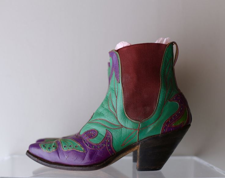 RARE Vintage 1940's Ladies Western Cowboy Boots ~ Vintage 40s Cowboy Ankle Boots Rare Green and Purple Butterflies and Hearts by xtabayvintage on Etsy