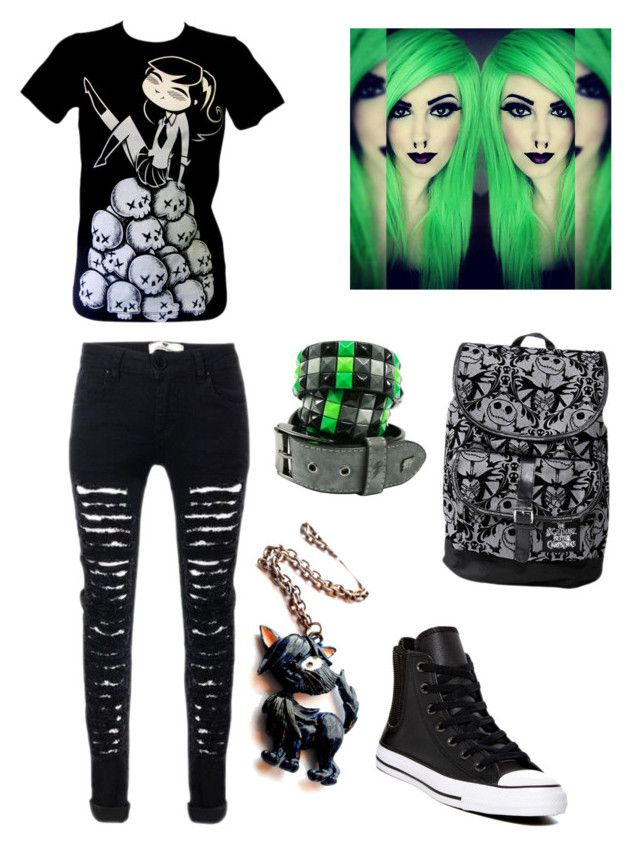 """""""Black and Green Emo Style ✴"""" by andreiapipa13 ❤ liked on Polyvore featuring Converse and Disney"""