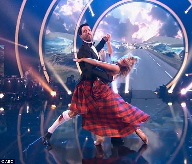 Scottish roots: Drew Scott wore a kilt for his tango with Emma Slater