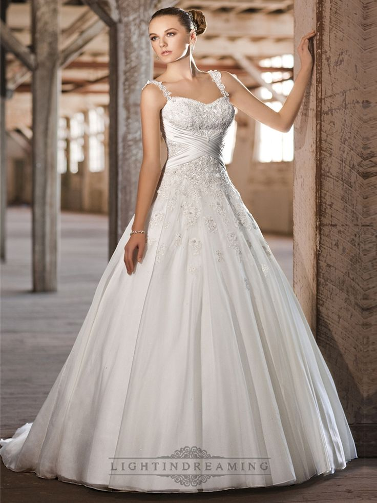 Straps Sweetheart Lace Appliques Criss-cross Bodice A-line Princess Wedding Dresses - LightIndreaming