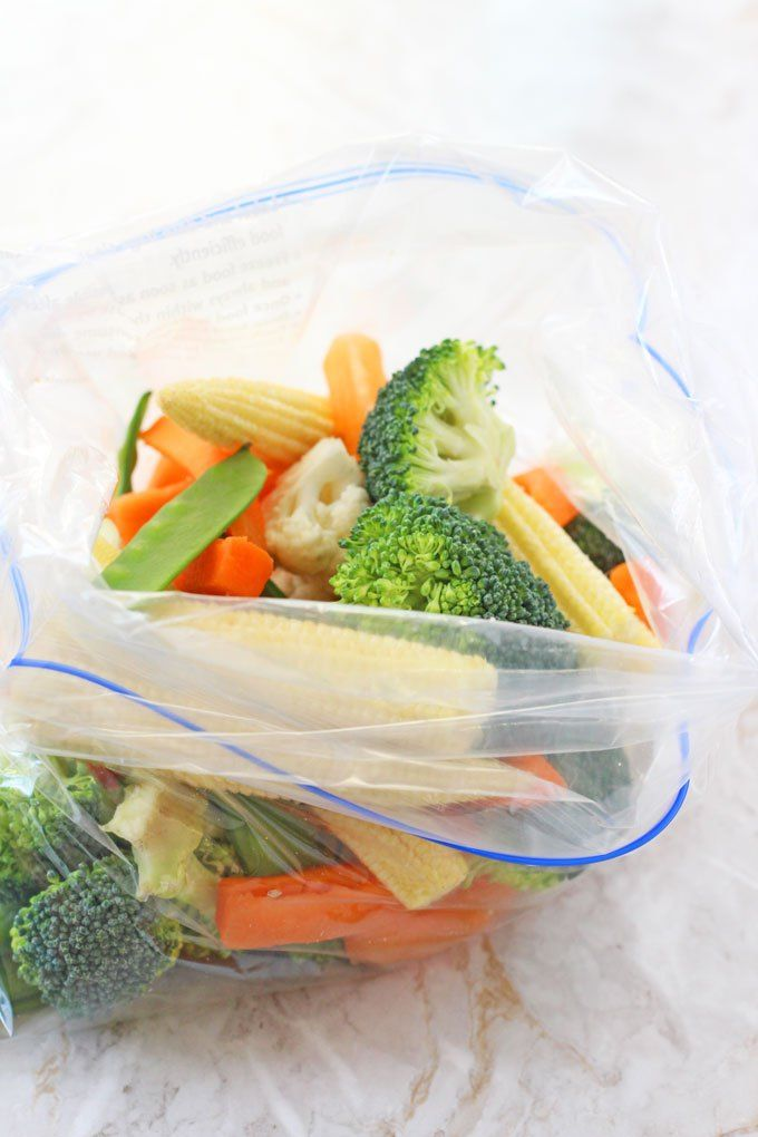 Did you know you can steam veggies in a ziplock baggie in the microwave?! Awesome!