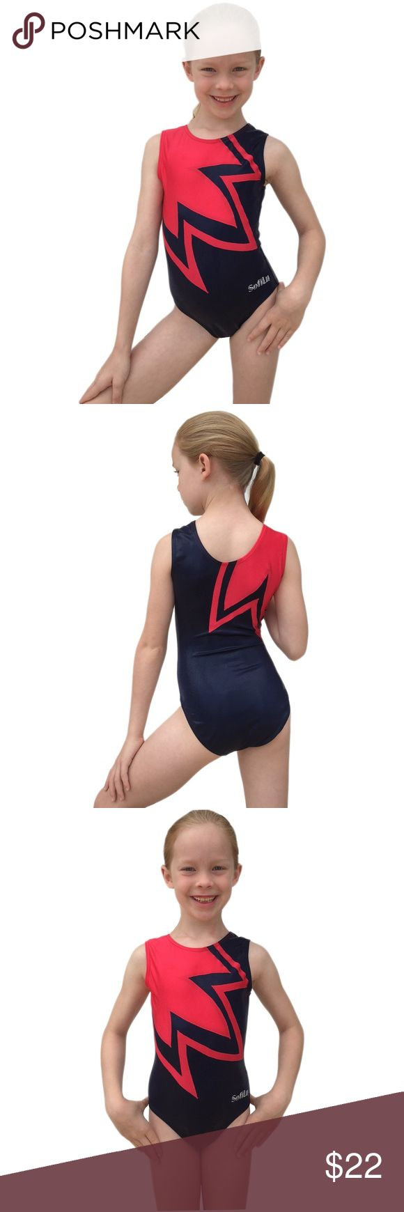 SofiLu™ Girl Gymnastics Leotard Navy Shimmery Mystic Fabric with Red Lycra   Premium Competition Quality 4-Way Smart Stretch Fabrics  Sizing: CXS (2-3 years), CSM (4-5 years), INT (6-7 years), CME (8-9 years)  Sizing tip: for the most accurate fit, determine child's girth measurement first  Machine Wash Cold on Delicate Cycle. Imported SofiLu™ Other