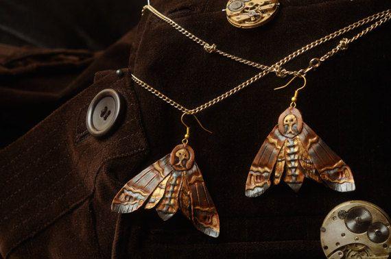 Leather Earrings  Death Head Moth  skull butterfly by 2Towers