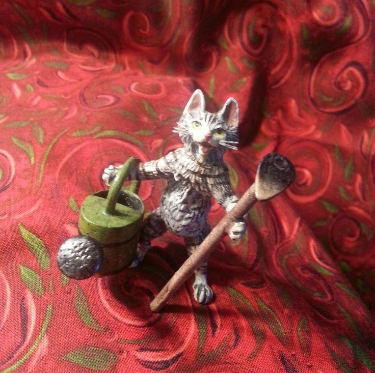 Antique Austrian Bronze Cold Painted Gardener Cat