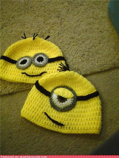 minions!: Ideas, Minions Hats, Crochet Hats, Beanie Hats, Despicable Me, Minions Beanie, Christmas Gift, Crochet Pattern, Knits