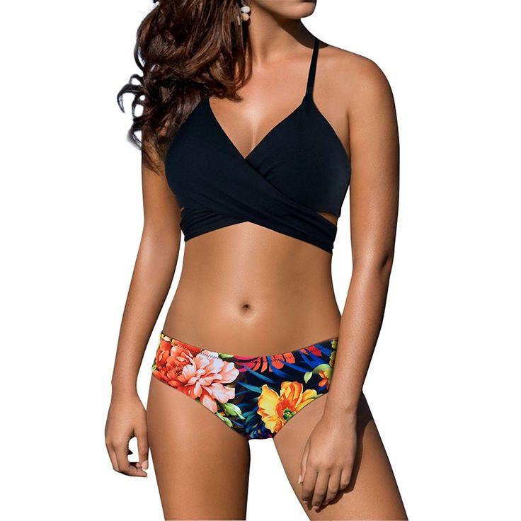 Jeu Vraiment Prix Le Moins Cher En Ligne FY Femmes Bikini Set Rétro Floral Maillot De Bain Taille Haute Natation Dos Nu Push Up Swimswear 6xsb1a