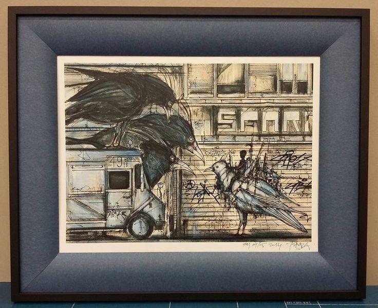 """Cadre sur mesure réalisé par notre atelier L'Éclat de Verre de Reims Cormontreuil : Biseau """"lolo"""" sur un dessin de Iemza. #eclatdeverre #encadrement #reims #biseau"""