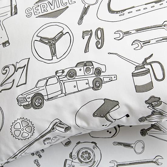 Pit Crew Race Car Crib Bedding | The Land of Nod