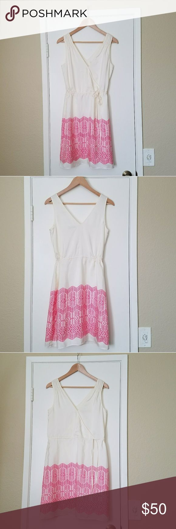Cream silk dress. Cream color dress with pink ikat border. It has draw string on the waist, fully lined. 100% silk and 100% polyester lining. Banana Republic Dresses