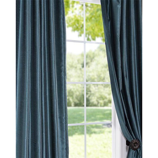 Peacock Vintage Faux Textured Dupioni Silk Curtain…