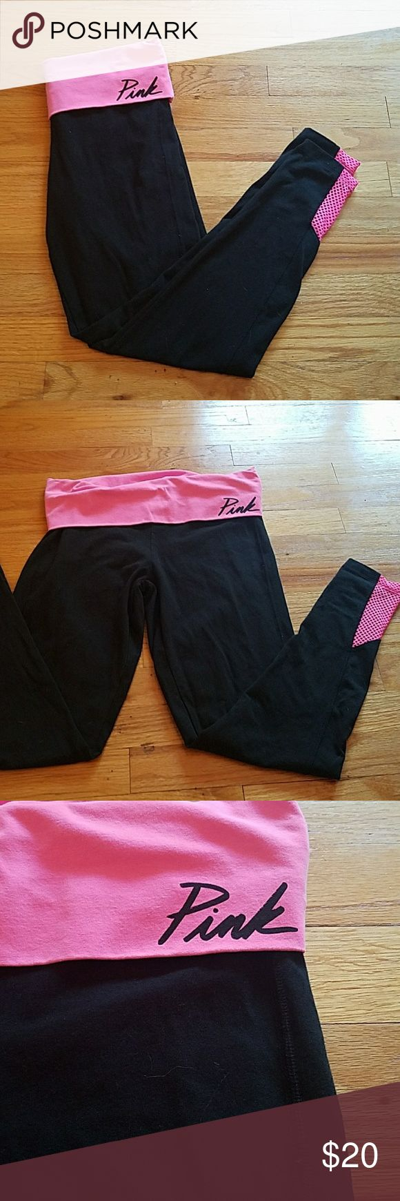 PINK yoga pants medium A pair of pink yoga pants size Medium  Pink fold over waist band  Pink mesh at the ankles Super comfy pair of yoga pants  Barely worn  No damage or worn spots PINK Victoria's Secret Pants Leggings