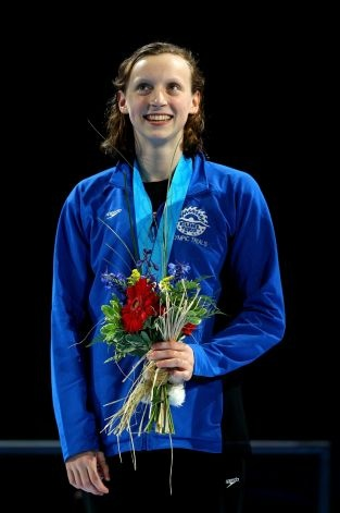 Kathleen Ledecky, 15, participates in the medal ceremony for the Women's 800 m Freestyle during Day Seven of the 2012 U.S. Olympic Swimming Team Trials at CenturyLink Center on July 1, 2012 in Omaha, Nebraska.
