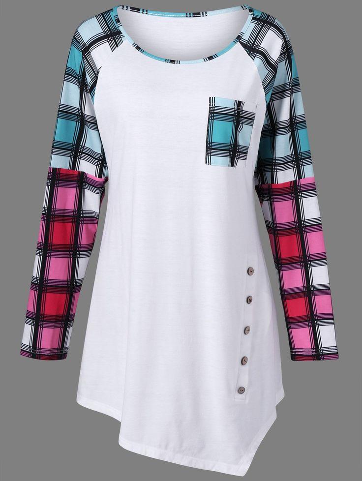 Plaid Raglan Sleeve Plus Size Tee in White | Sammydress.com