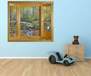 WIM78   GORGEOUS VIEW OF A RIVER IN THE AUTUMN FOREST WINDOW SCENE WALL  MURAL POSTER