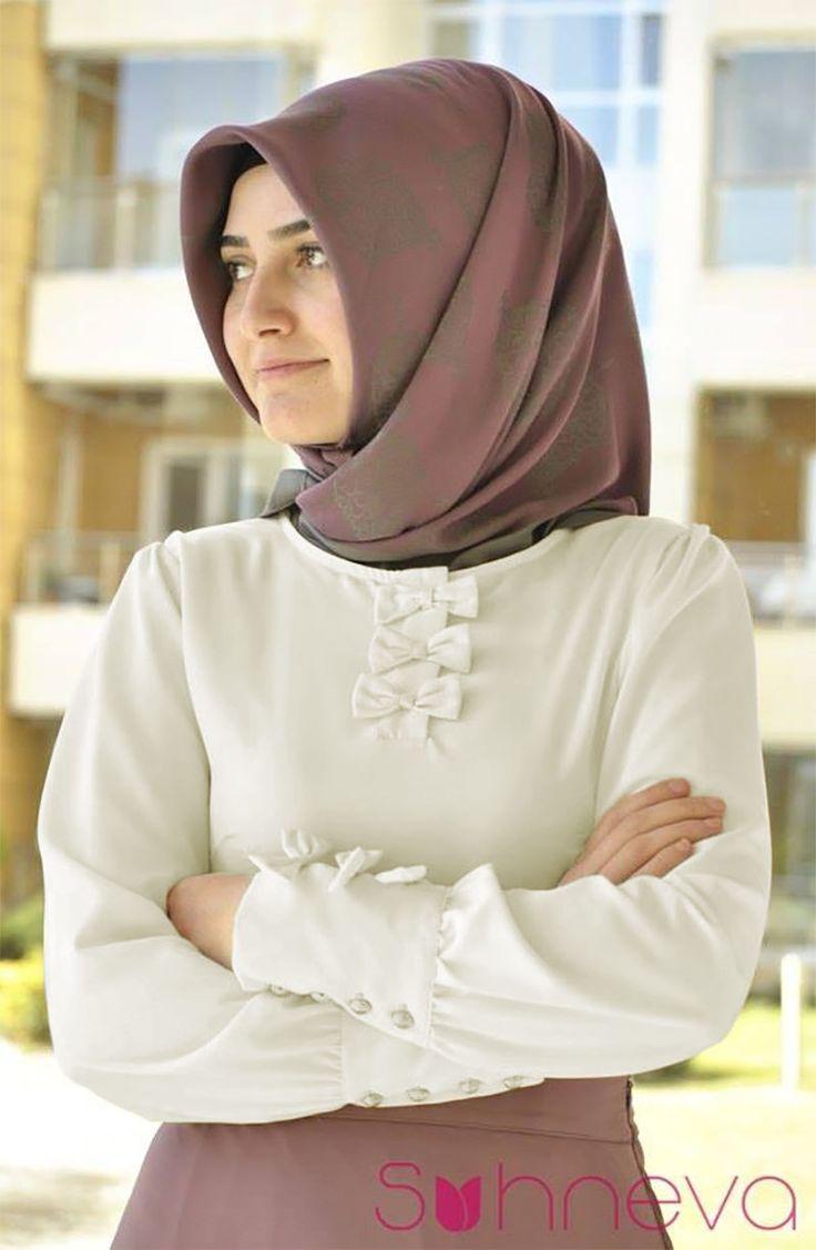 Fiyonk Manşetli Bluz - Ekru