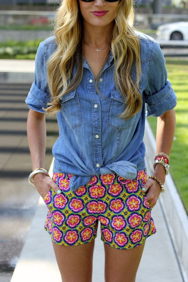 chambray shirt + printed trina turk shorts