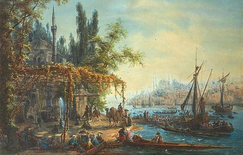 "Adjugé 42 000 euros par Millon à Paris le 19 mai 2014 - Auguste Etienne François MAYER (1805-1890) ANIMATION À CONSTANTINOPLE SUR LES RIVES DU BOSPHORE EN 1867 LIVELINESS ON THE BOSPHORUS BANKS IN 1867 AT CONSTANTINOPLE Technique mixte, gouache, aquarelle, huile et gomme arabique sur papier, signée "" A. MAYER 1867 """