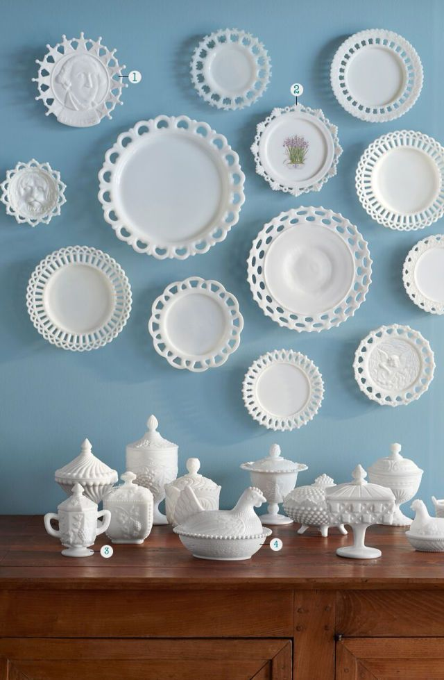 Unlike other 20th-century tabletop collectibles such as Jadeite and Fiesta, actual milk glass dinnerware was never produced. Instead, the plates you see here were used as serving pieces or home deécor.