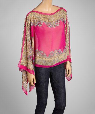 Look at this #zulilyfind! Fuchsia Paisley Poncho by Fashion Terminal #zulilyfinds