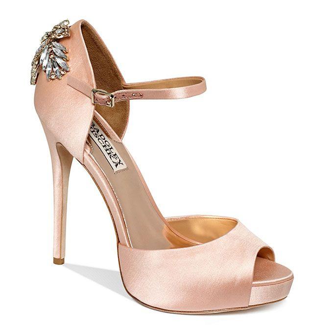 Brides.com: Rose Gold Wedding Shoes. Badgley Mischka