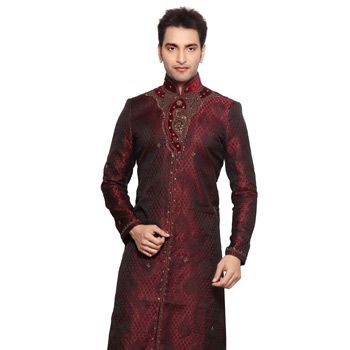 Dark Maroon Silk Brocade Readymade Sherwani with Churidar
