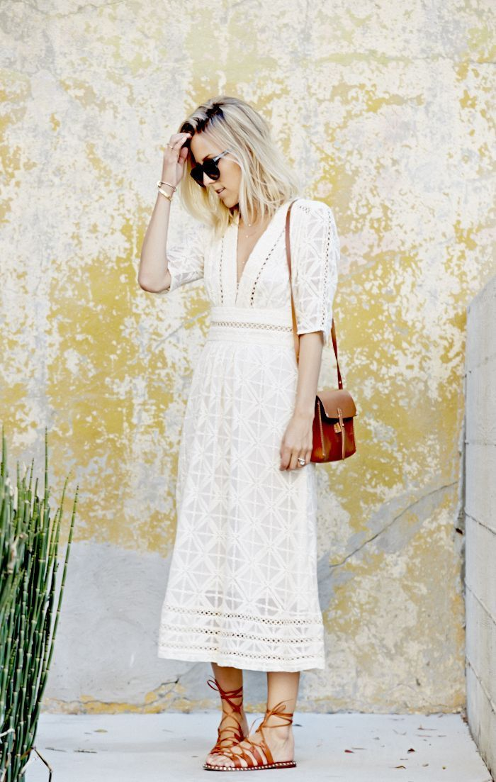 White Summer Dress Accessorised With Tan Sandals And A Tan Bag - Jacie Duprie Of Damsel In Dior